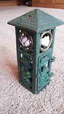 VINTAGE CAST IRON SQUARE HANGING LANTERN CANDLE HOLDER  FROG DESIGN  PRE OWNED