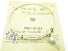 Wind & Fire 3D Wine Glass Charm Silver Wire Bangle Stackable Bracelet USA Gift