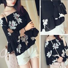 New Korean Style Fashion Women Girl 3/4 Sleeve Chiffon Floral Tops Flare Blouse