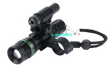 Tactical Cree LED Zoomable Flashlight + Red Laser Sight +Scope Gun Barrel Mount