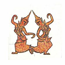 "Thai Temple Rubbing - Colored - Classical Dancing Girls - 24"" x 24"" -     2403MC"