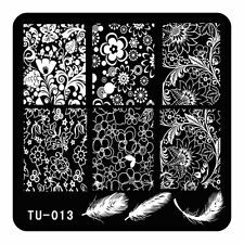 Nails Stamping Template Flowers Feather Polish DIY Nails Stamp Stencils TU13