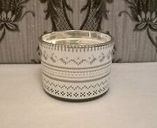 Essence double wick floral scented candle. Silver mirrored Nordic design. 26hr