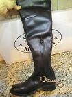 NEW STEVE MADDEN BLACK OVER THE KNEE TALL BOOTS WOMENS 6 LEATHER W/CHAINS