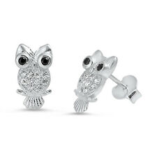 Black Onyx & Cz Owl Stud .925 Sterling Silver Earrings