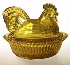 "5"" Rooster on Nest Amber Glass Split Tail Candy Dish Westmoreland Mould"