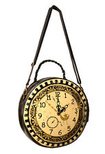 Banned Steampunk Clock Handbag Circular Round Shoulder Bag Cross over Rock Brown