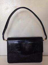 MAPPIN & WEB SATCHEL PURSE HAND BAG BLACK SNAKE SKIN LEATHER GOLD TONE HARDWARE