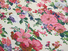 "Ivory & Pink ""Vintage Flowers"" Floral Printed 100% Cotton LAWN/VOILE Fabric"