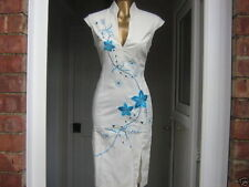 Oriental Chinese OFF White Turquoise dress size 12 14