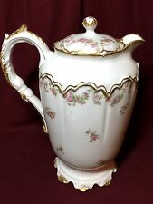 Haviland Limoges China double gold trim large Rose Spray teapot