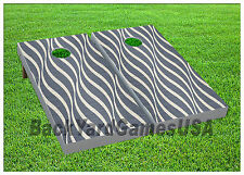 Cornhole Silver White Pattern Boards BEANBAG TOSS GAME w Bags Set