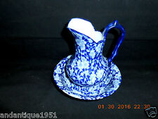 "Flow Blue & White Victoriaware Ironstone Calico Chintz Pitcher 6"" & Bowl 5 7/8"""