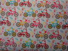 Bikes on Pale Blue background 100% cotton - Riley Blake Fabric per Fat Quarter
