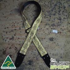 Colonial Leather Gold Diamonds Jacquard Webbing Guitar Strap - Australian Made