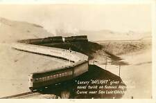 c1940 trimmed RPPC; Luxury Daylight Train Horseshoe Curve by San Luis Obispo CA