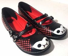 TUK vampire sz 8 Mary Jane ballet Flat Shoes double strap black red smooth dots