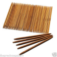 Double Point Knitting Needles Set 5 Inch 11 Size Carbonized Bamboo Wood 55pcs