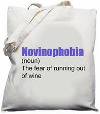 Novinophobia - The Fear of Running Out of Wine - Natural Cotton Shoulder Bag