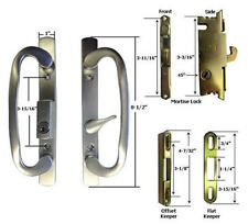Patio Door Handle Kit Mortise Lock and Keepers, B-Position, Brushed Chrome,Keyed