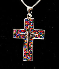 Christian Cross Pendant With Swarovski Colored Gemstones