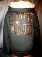 Victorias Secret Pink Sequins BLING LOVE PINK Super Soft Fur Hoodie Coat NWT S