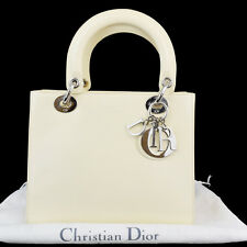 Authentic Christian Dior Cannage Lady Hand Bag Patent Leather Ivory Italy 32P110