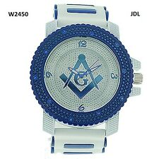 MENS ICED OUT BLUE/WHITE FREEMASON MASONIC WATCH WITH BULLET BAND