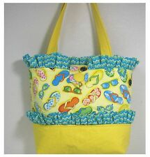 New handmade tote purse handbag washable Flip Flop Beach Yellow bag faffygiraffe