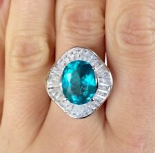 5.3ct Full fire & sparkling Paraiba Color Natural Apatite Sterling Silver Ring 9