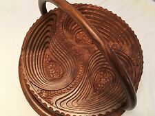 Valentine Gift Love Handmade Wood Collapsible Fruit Basket Brown 12""