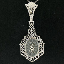 Antique Art Deco 14k White Gold Etched Camphor Glass Filigree Pendant Necklace
