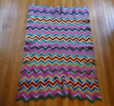 Antique Vintage Crochet AFGHAN Throw Blanket Decor ZIG ZAG Pattern Granny Wool?