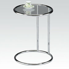 Clear Glass Top Chrome Metal Base Small Round Accent End Chair Side Table