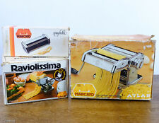 Vtg Marcato Atlas 150 Steel Pasta Maker with Ravioli and Spaghetti Attachments