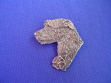 Irish Wolfhound Pin LUCKY CLOVER  #21E Pewter Dog Jewelry by Cindy A. Conter