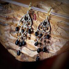 Boucles d`Oreilles Clips Chandelier Fringe Tassel Perle Noir Yeux de Tigre C2
