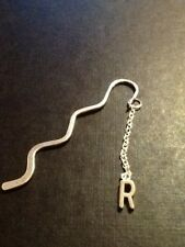 Personalized initial R book mark silver in colour