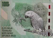 AFRICAN GREY PARROT on Money 2013  CONGO 1000 Francs Banknote Mint Uncirculated