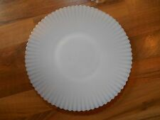 "Old Vintage Kitchen Glass Milk White w/ Gold Rim Cake Platter Plate 10 3/4""-11"""