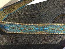 "10 Yds  AWESOME JACQUARD RIBBON TRIM BROWN/ TURQ/ MUSTARD / GOLD 5/8"" Wide"
