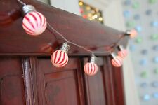 POP Lights  striped Red and White - 12 LED Light Chain - battery operated