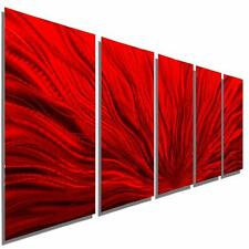 Multi Panel Metal Wall Art Sculpture, Red Modern Metal Wall Decor - Jon Allen