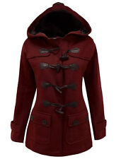 Womens Duffle Toggle Winter Parka Wool Blend Long Overcoats Trench Casual Coats
