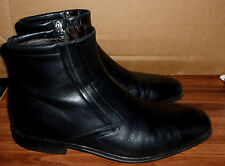 MENS BRUNO MAGLI RASPINO BLACK LEATHER SIDE ZIP ANKLE BOOTS SIZE 10.5 M