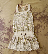 ANTHROPOLOGIE FREE PEOPLE BOHO HIPPIE DRAWSTRING TUNIC MINI TANK DRESS XS 0 2