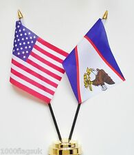 United States of America USA & American Samoa Double Friendship Table Flag Set