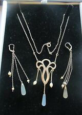 Arts and Crafts Necklace and Earrings: Silver, Moonstones and Pearls