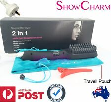 Black ShowCharm Ionic Electric Hair Straightener Brush Comb LED Straightening