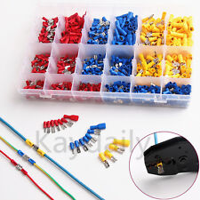 900Pcs Assorted Electrical Wire Terminal Crimp Connector Insulated Spade Set Kit